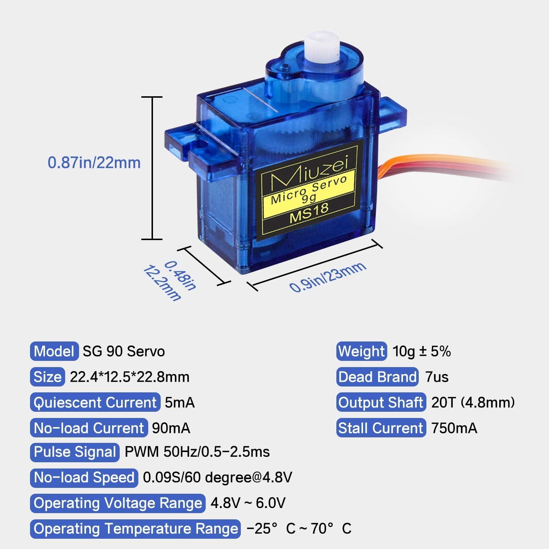 10 pcs SG90 Micro Servo Moteur 9G Servo pour RC Robot Arm H/élicopt/ère Avion T/él/écommande OURLITIME SG90 9 G Servo Moteur
