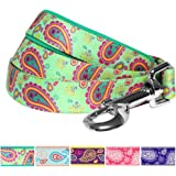 Blueberry Pet Paisley Flower Print Dog Leash with Neoprene Padded Handle, 5 Colors, Matching Collar & Harness Available Separately