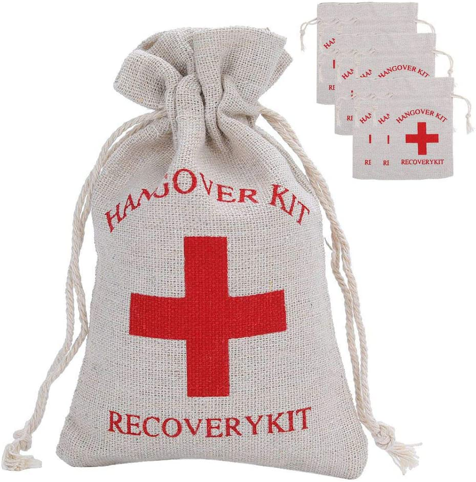 20 bolsas de muselina de algodón con cruz roja, bolsas de regalo para bodas y fiestas, kit de resaca para despedida de soltera, bolsas de kit de recuperación para kit de supervivencia