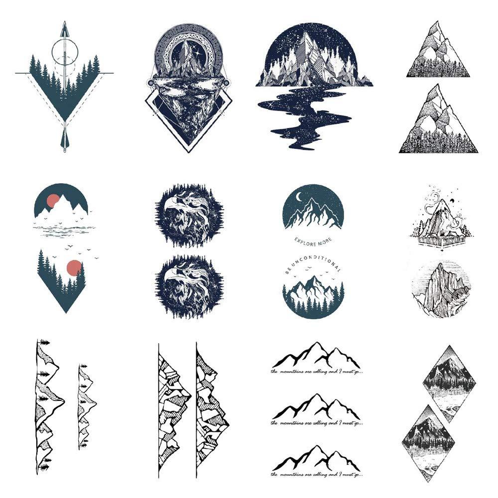 SanerLian Mountains Geometry Temporary Tattoo Sticker Triangle Waterproof Adult Men Women Hand Arm Chest Neck Body Art 10.5X6cm Set of 12 (SF062)