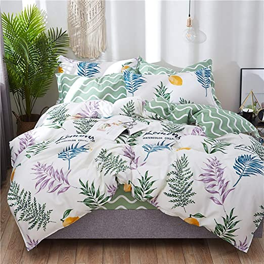 Duvet Quilt Cover Fitted Sheet Pillowcases Bedding Set Single Double King Size