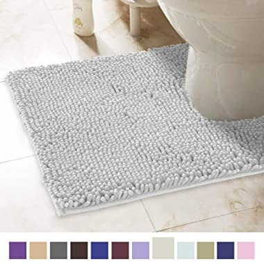 ITSOFT Non-Slip Shaggy Chenille Toilet Contour Bathroom Rug with Water Absorbent, Machine Washable, 21 x 24 Inches U-Shaped Light Gray