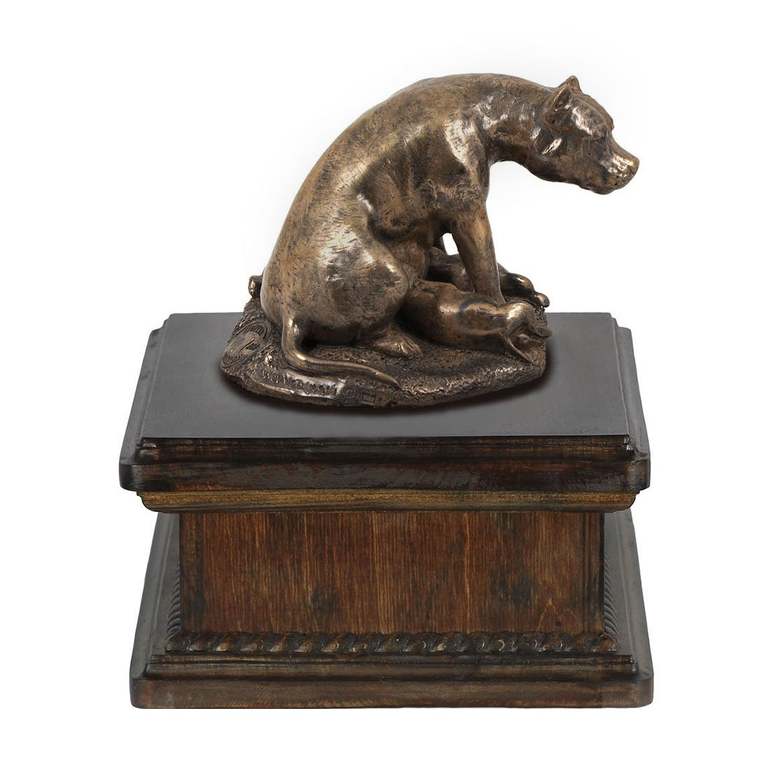 American Staffordshire Terrier (mama), memorial, urn for dog's ashes, with dog statue, exclusive, ArtDog