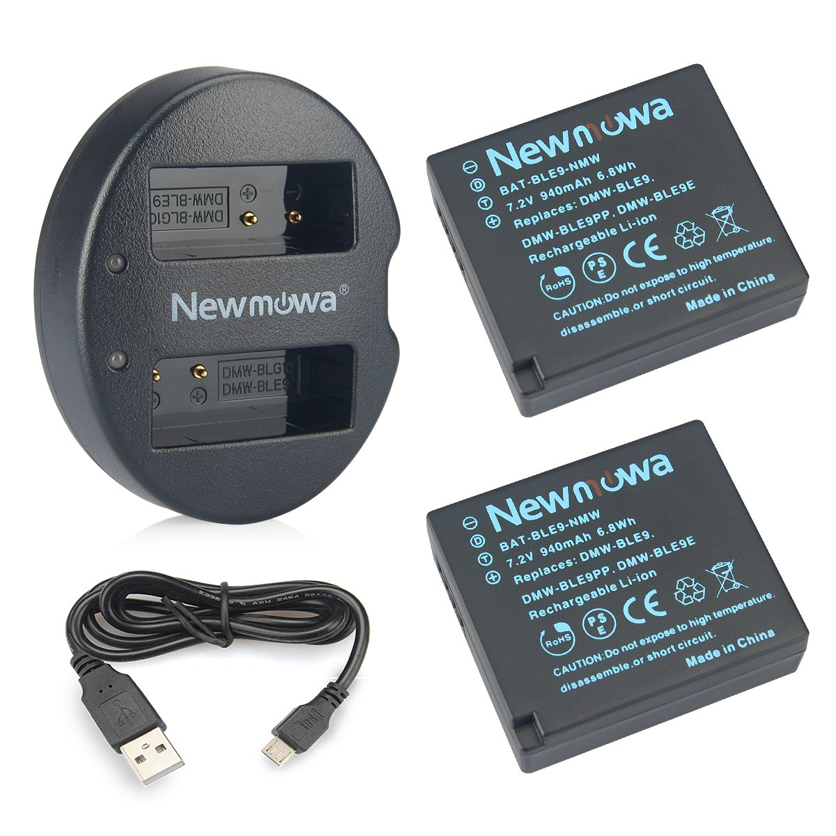 DMW-BLE9 Newmowa Battery (2 pack) and Dual USB Charger for Panasonic DMW-BLE9, DMW-BLG10 and Panasonic Lumix DMC-ZS60, DMC-ZS100, DMC-LX100, DMC-GF3, DMC-GF5, DMC-GF6, DMC-GX7, DMC-GX85