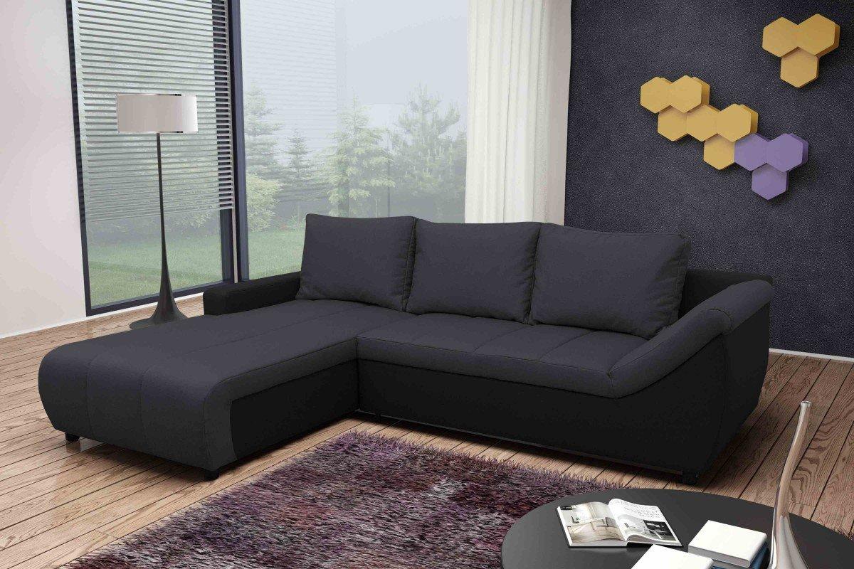 Dreams4Home Schlafsofa 'Moon', anthrazit, schwarz, Polstermöbel, Wohnzimmer, Sitzmöbel, Couch, Schlaffunktion, Aufbauvariante:Recamiere links davorstehend