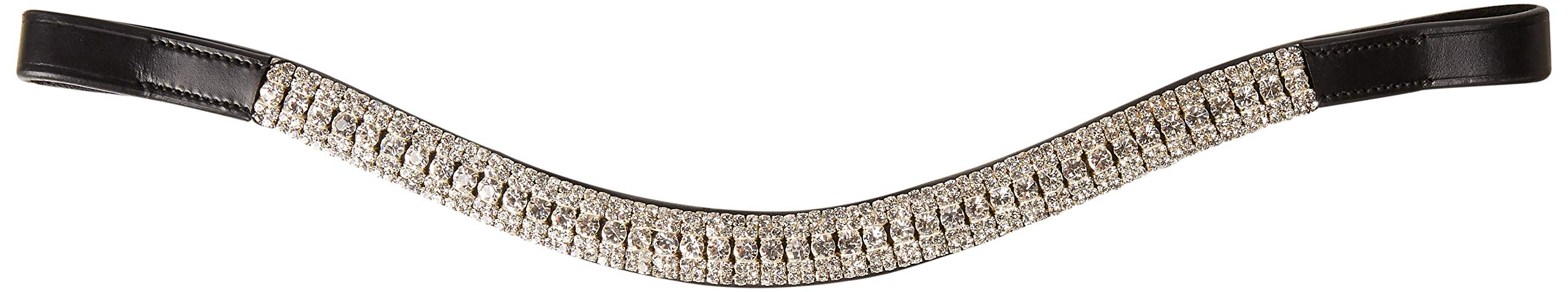 Cwell Equine Look U White Clear Crystal Browband Great Gift Choice of 4 Sizes Black (Full 16'')