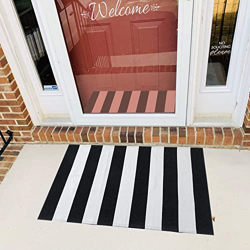 MUBIN Cotton Black and White Striped Door Mat Rug