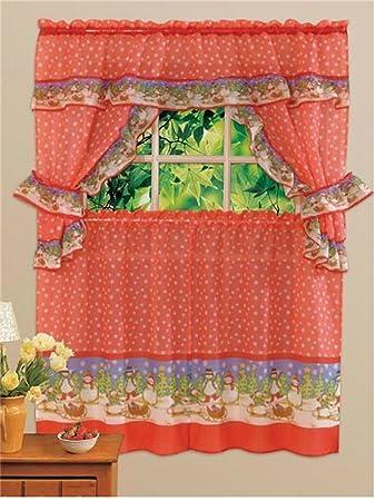 Joybuy Printed Kitchen Curtain Curtains Christmas Snowman