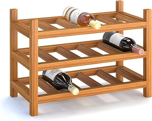 INTERBUILD Solid Hardwood Wine Rack Storage Shelf 3-Tier Stackable Freestanding Wine Bottle Holder 15 Bottle
