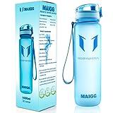 MAIGG Beste Sports WasserFlasche Trinkflasche - 500ml & 1000ml - Eco Friendly & BPA-freiem Kunststoff - für das Laufen, Fitness, Yoga, Im Freien und Camping - Schnelle Wasserdurchfluss , Flip Top, öffnet sich mit 1-Click - Wiederverwendbare mit dicht schließendem Deckel