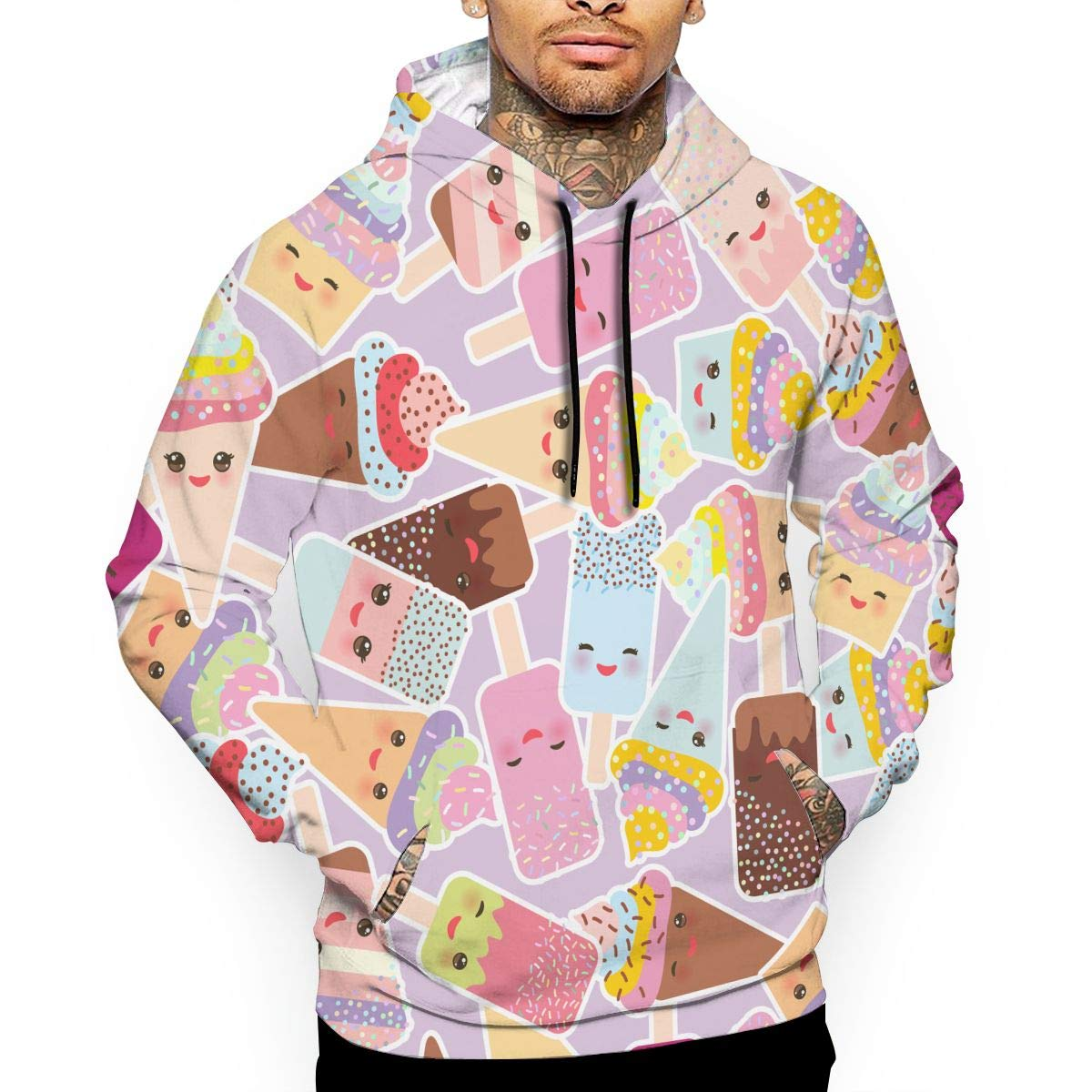 GQOP Men's Pullover Hoodie Kawaii Cupcakes with Cream 3D Digital Print Hooded Sweatshirt by GQOP