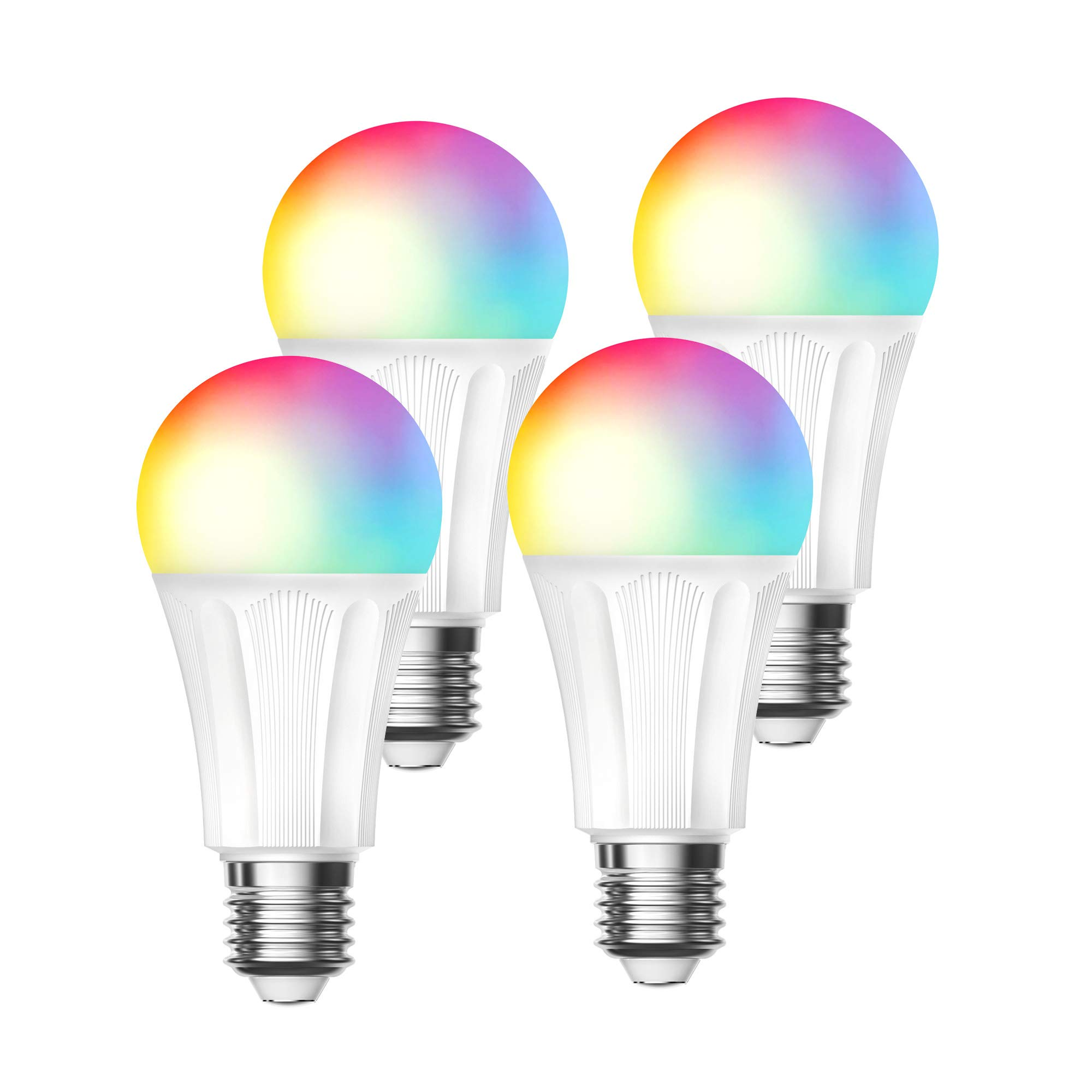Led Smart Light Bulb,RGBW Color Changing Bulbs 9W,Compatible with Alexa Google Home,No Hub Required,A19 75W Equivalent 4 Pcak Amysen