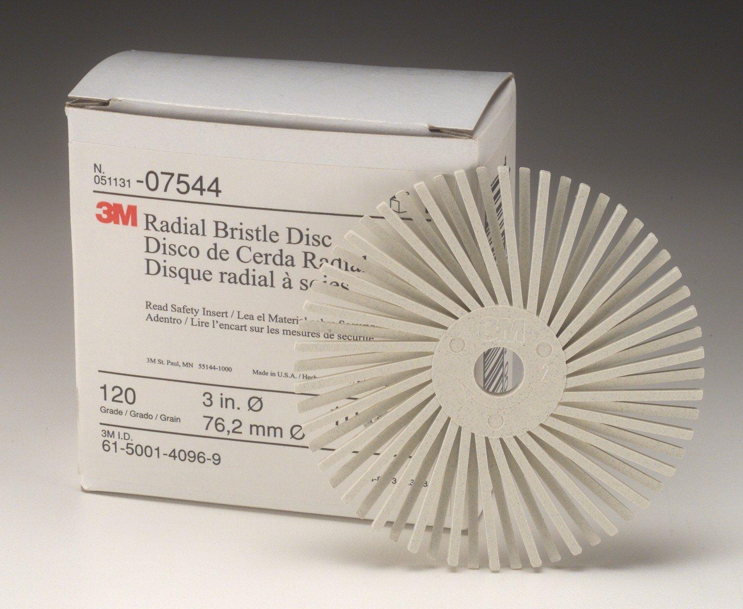 Scotch-Brite Radial Bristle Disc Thin Bristle, Ceramic, 20000 rpm, 3'' Diameter, 6 Micron Grit, Peach (Pack of 40)