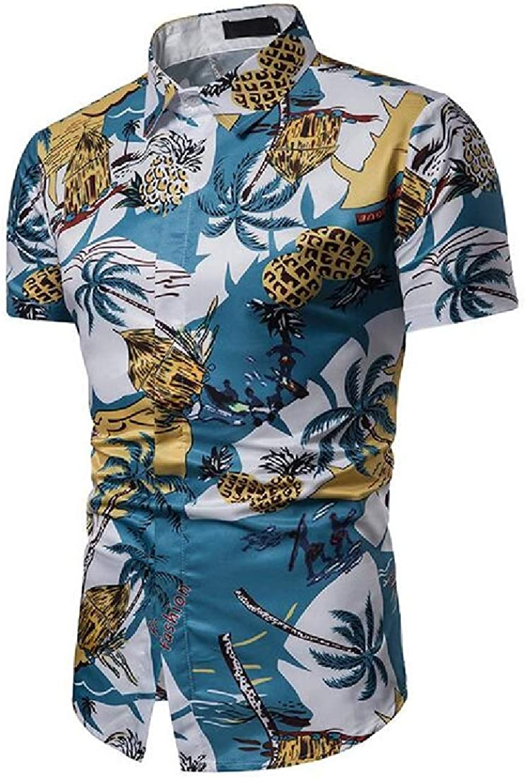 Domple Mens Short Sleeve Lapel Casual Summer Print Beach Button Down Shirt