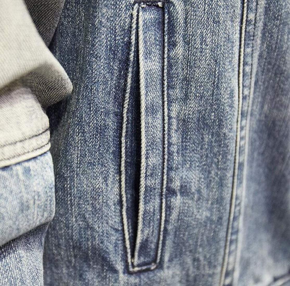 Light bluee JXG Men Stylish Casual Lapel Lapel Lapel Long Sleeve Contrast Denim Jacket Coat Outerwear 4477bc