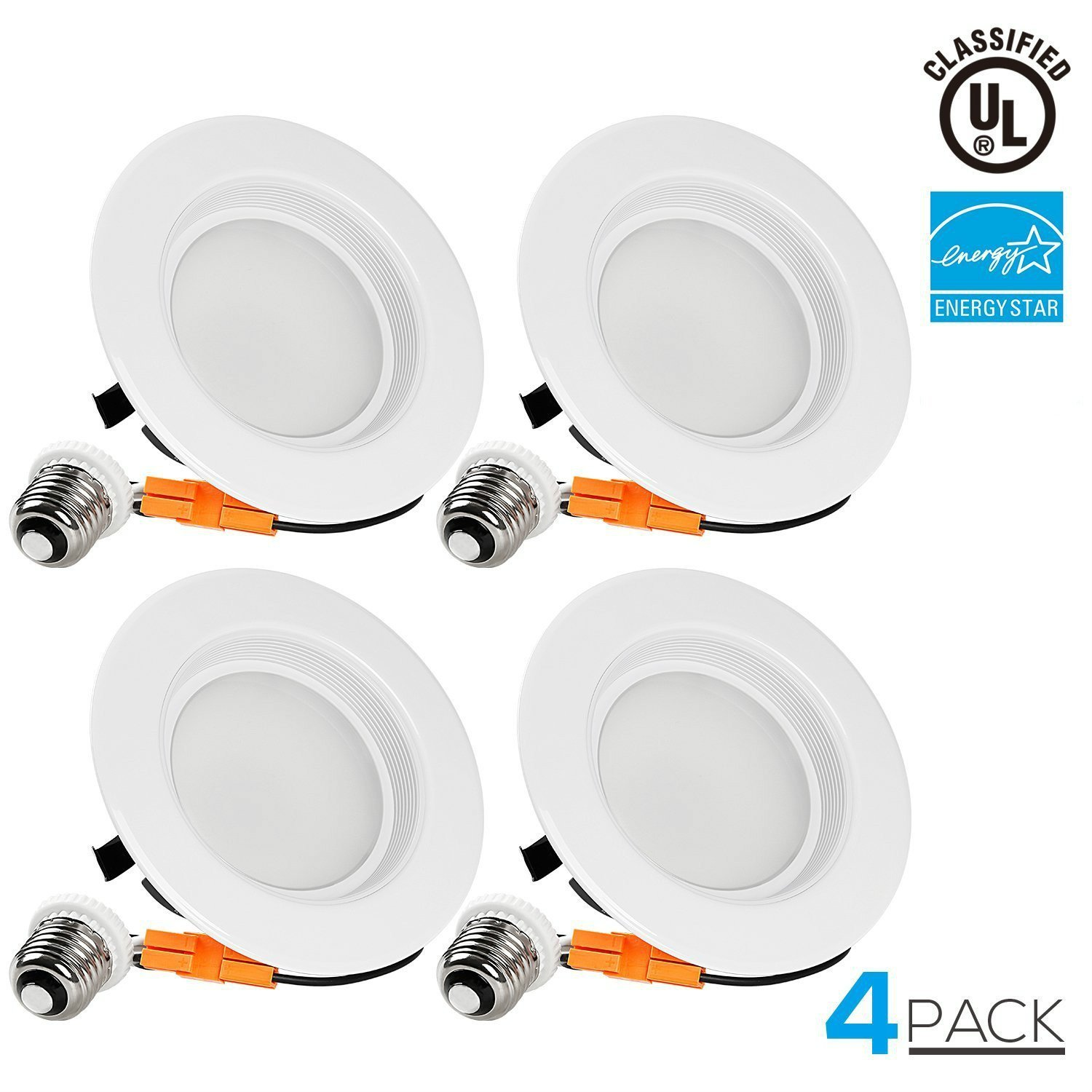 4 PACK Wet Location 4-inch Dimmable Recessed LED Downlight, 13W (85W Equivalent), ENERGY STAR, 5000K Daylight, 800lm, Retrofit LED Recessed Lighting Fixture, 5 YEAR WARRANTY by TORCHSTAR