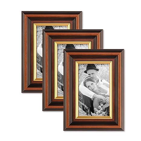 Amazoncom Photolini 3 Piece Set Picture Frame 4 X 6 Inch Antique