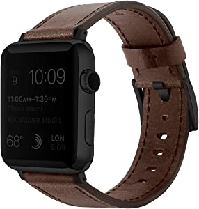 EAVAE Compatible with Apple Watch Bands Leather, Premium Brown Leather iWatch Bands 38mm 40mm for Apple Watch SE Apple Watch Series 6 Series 5 Series 4 Series 3 Series 2 Series 1