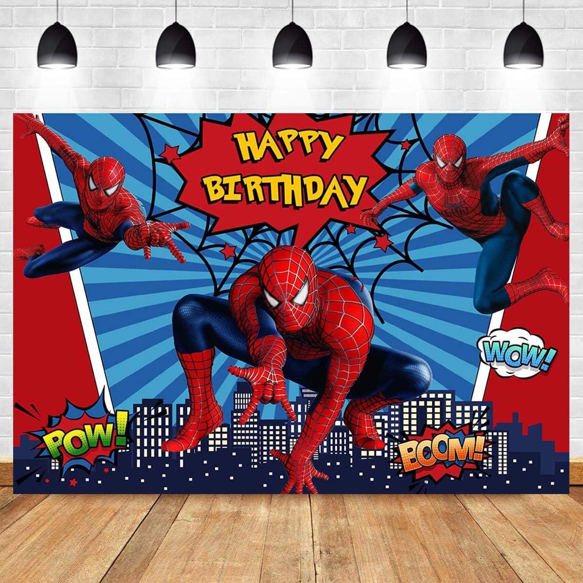 Spiderman Kids Birthday Party Photography Backdrop Vinyl Photo Background