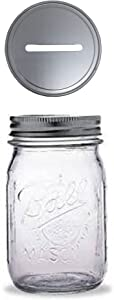 1 Mason Jar with 1 Piece Slotted Lid Regular Mouth Pint 16 Oz Piggy Bank for All Ages (Clear)
