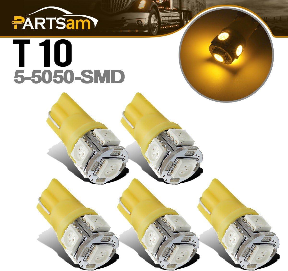 4pcs Yellow T10 W5W 194 5 SMD LED Car Light Bulbs 5050