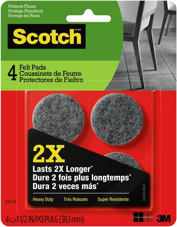 Scotch Heavy Duty Felt Pads, Round, Gray, 1.5-Inch Diameter, 4 Pads/Pack (SP871-NA)