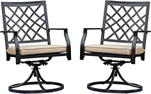LOKATSE HOME Patio Swivel Rocker Furniture Metal Outdoor Dining Chairs with Cushion Set of 2