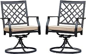 LOKATSE HOME Patio Swivel Rocker Furniture Metal Outdoor Dining Chairs with Cushion Set of 2