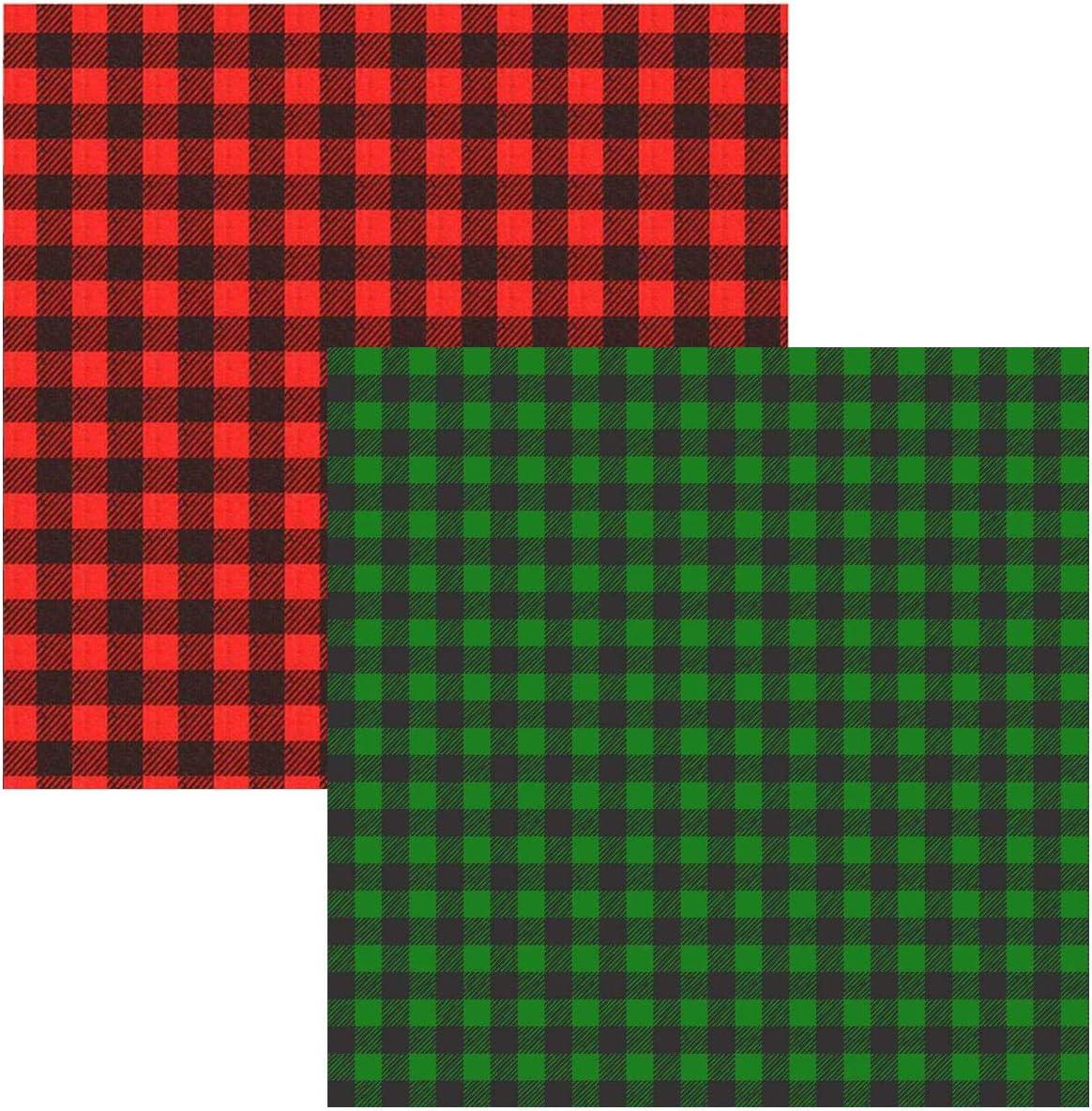 2 hojas de vinilo de cuadros de búfalo, 12 x 12 pulgadas, autoadhesivas, para camisa y manualidades (cuadros rojos y negros + cuadros verdes y negros): Amazon.es: Juguetes y juegos