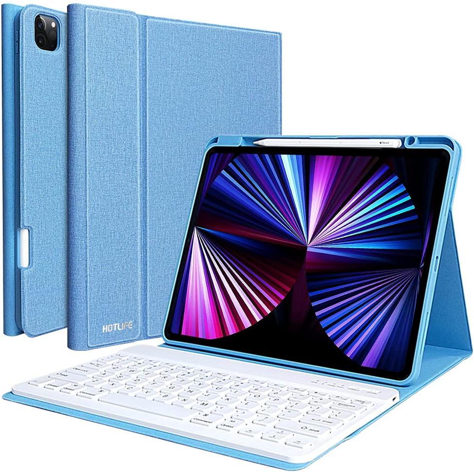 Keyboard Case for iPad Pro 12.9 2021 5th Generation, iPad Pro 12.9 Case with Keyboard 4th 2020 /3rd Generation-Detachable BT Keyboard- with Pencil Holder-iPad Pro 12.9 inch Keyboard Case
