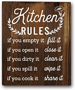 "Funny Kitchen Rules Sayings Wall Art Prints 8""x10"" Wood Wall Art Rustic Farmhouse Décor"