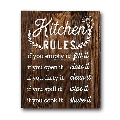Amazon Com Funny Kitchen Rules Sayings Wall Art Prints 8 X10 Wood