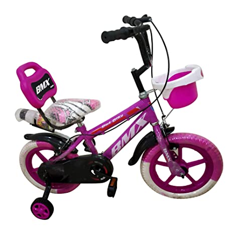 Global Bikes Barbie 14T Fully Adjustable with Back Seat, Bottle and Support BMX Boy's and Girl's Bicycle for 2 to 5 Years (Pink)