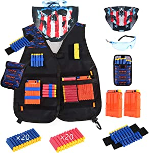 Locisne Kids Tactical Vest Kit for Nerf Guns N-Strike Elite Series, Tactical Jacket Vest with Refill Foam Darts, Dart Pouch, Reload Clips, Tactical Mask, Wrist Band and Protective Glasses for Boys