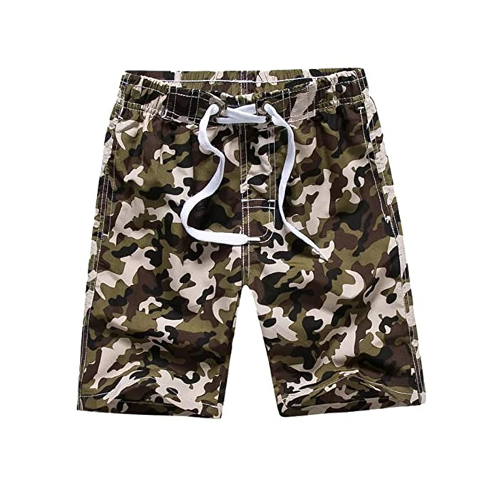 0bffb494861dd Warrlen Boy's Youth Camo Swim Trunks Shorts Swimsuit (Green camo, ...