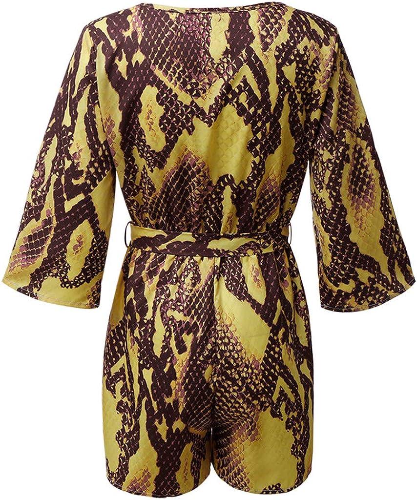 Huarll Womens Trendy Snake Stripe Vintage Floral V-Neck Long Sleeve Short Pants Jumpsuit with Adjustable Belt