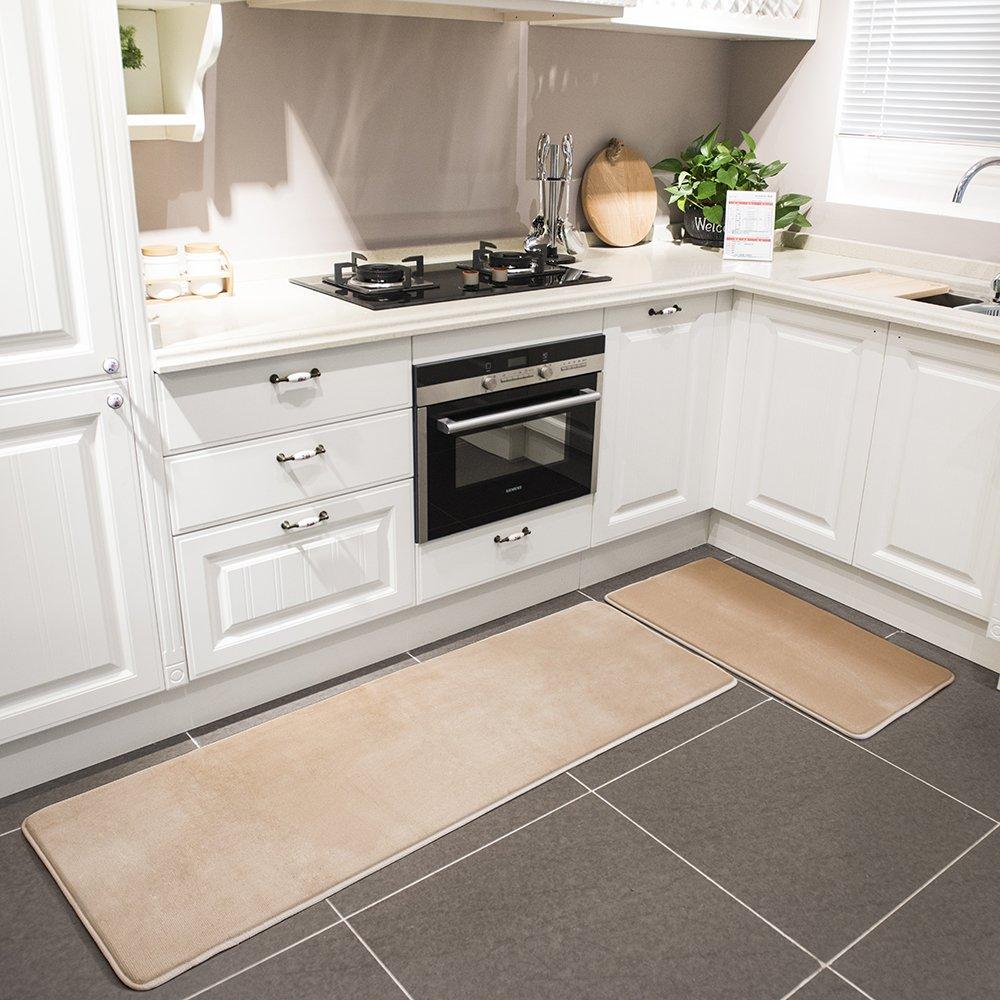 Kitchen Rug Set, LEEVAN Memory Foam Kitchen Comfort Mat Super Soft Rug Microfiber Flannel Area Runner Rugs Non-slip Backing Washable Bathroom Rug Set of 2 Pcs, 19''x31''+19''x63'', Light Coffee by LEEVAN (Image #5)