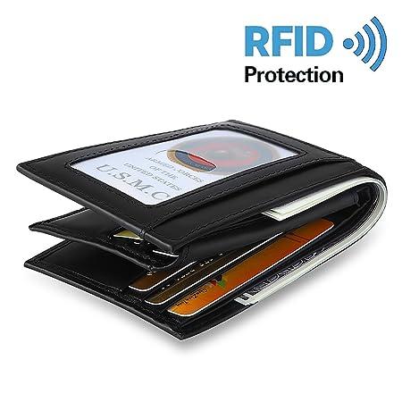 MPTECK @ Nero RFID Blocco Portafoglio Bifold da Uomo in Pelle Sottile con Porta Moneta Borsa Titolare della Carta per Carte di Credito patente di Guida Carta d'identità Tasche
