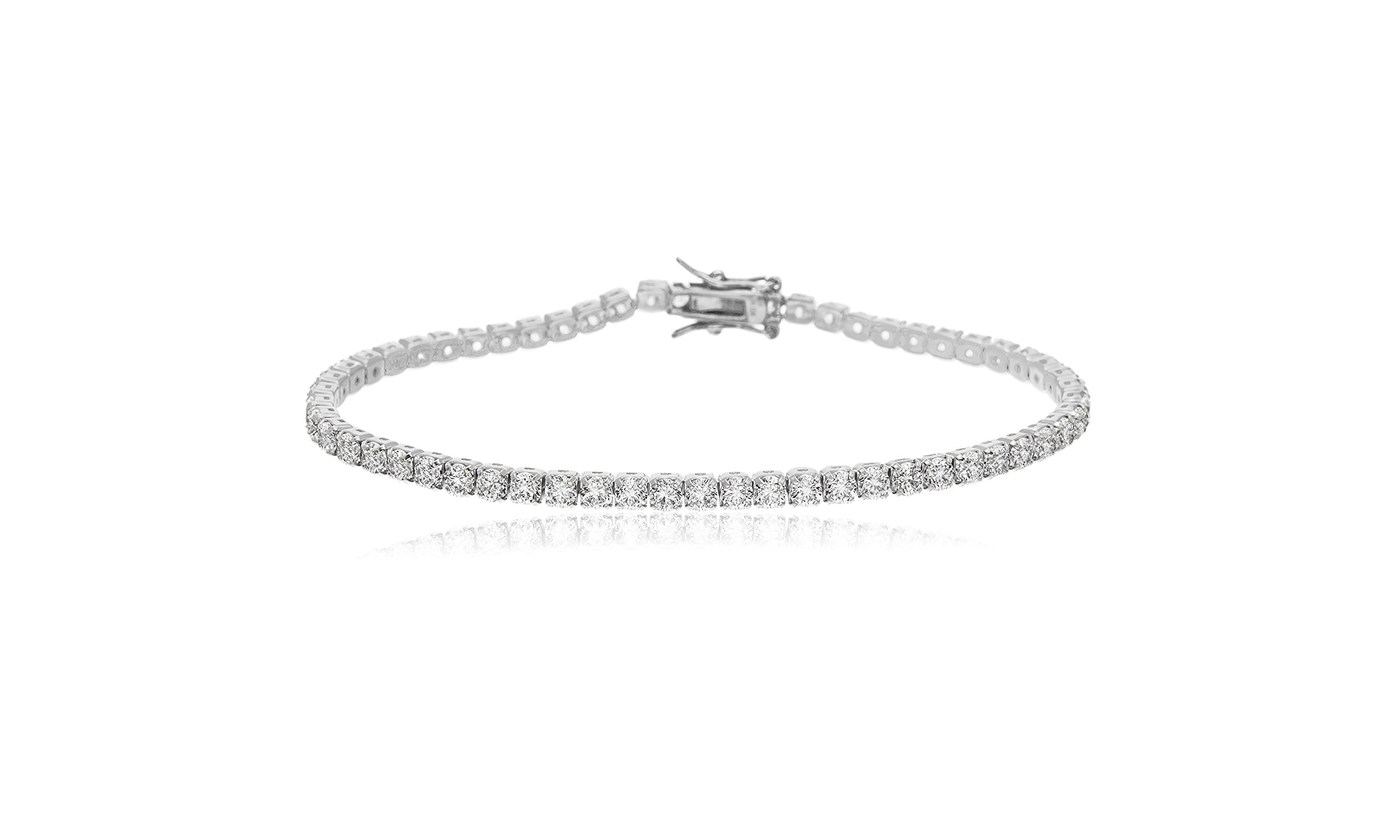 Devin Rose Womens 7.25'' Tennis Bracelet Made With Swarovski Crystals in Sterling Silver (White)