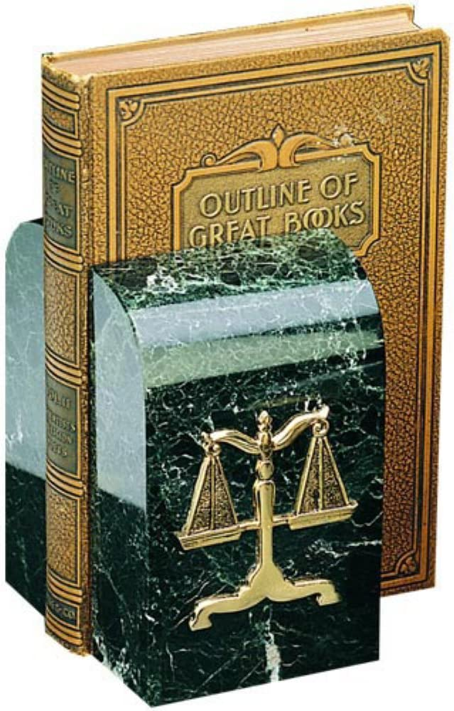 Bey-Berk R15L Black Zebra Marble Bookends with Antique Gold Plated Legal Emblem
