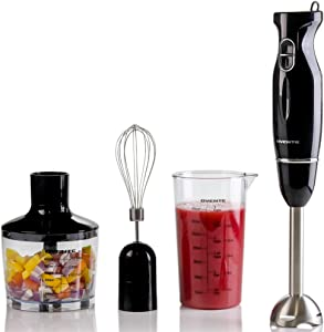 Ovente Immersion Hand Blender Set with Brushed Stainless Steel Blades, 300 Watt Power 2 Mix Speed Handheld Stick Mixer with Egg Whisk Attachment Mixing Beaker and BPA-Free Food Chopper, Black HS565B