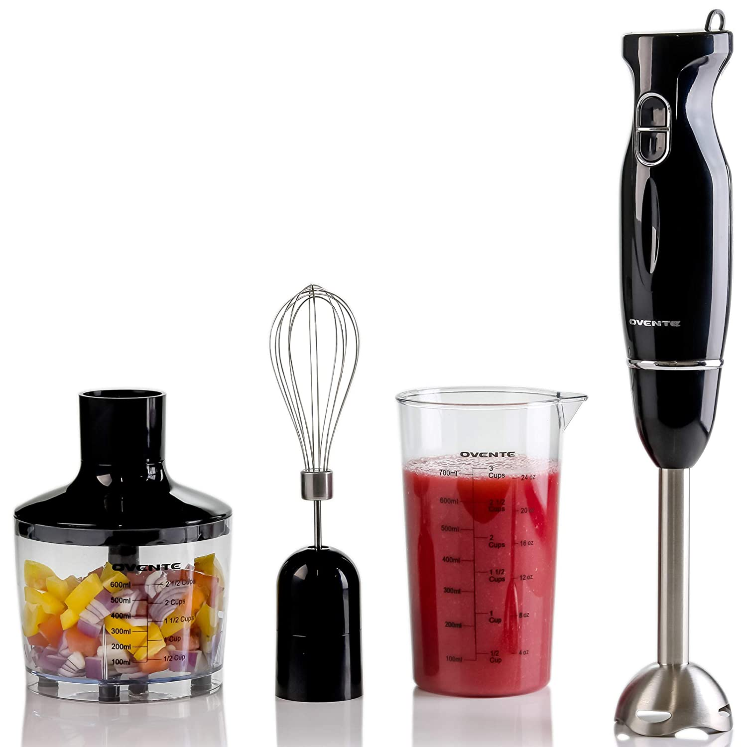 OVENTE HS565B 4-in-1 Electric Hand Immersion Blender Set 300W, Inlcudes Stainless Steel Stick Mixer, 700ml Beaker, 600ml Food Processor, Mixing Whisk, Black