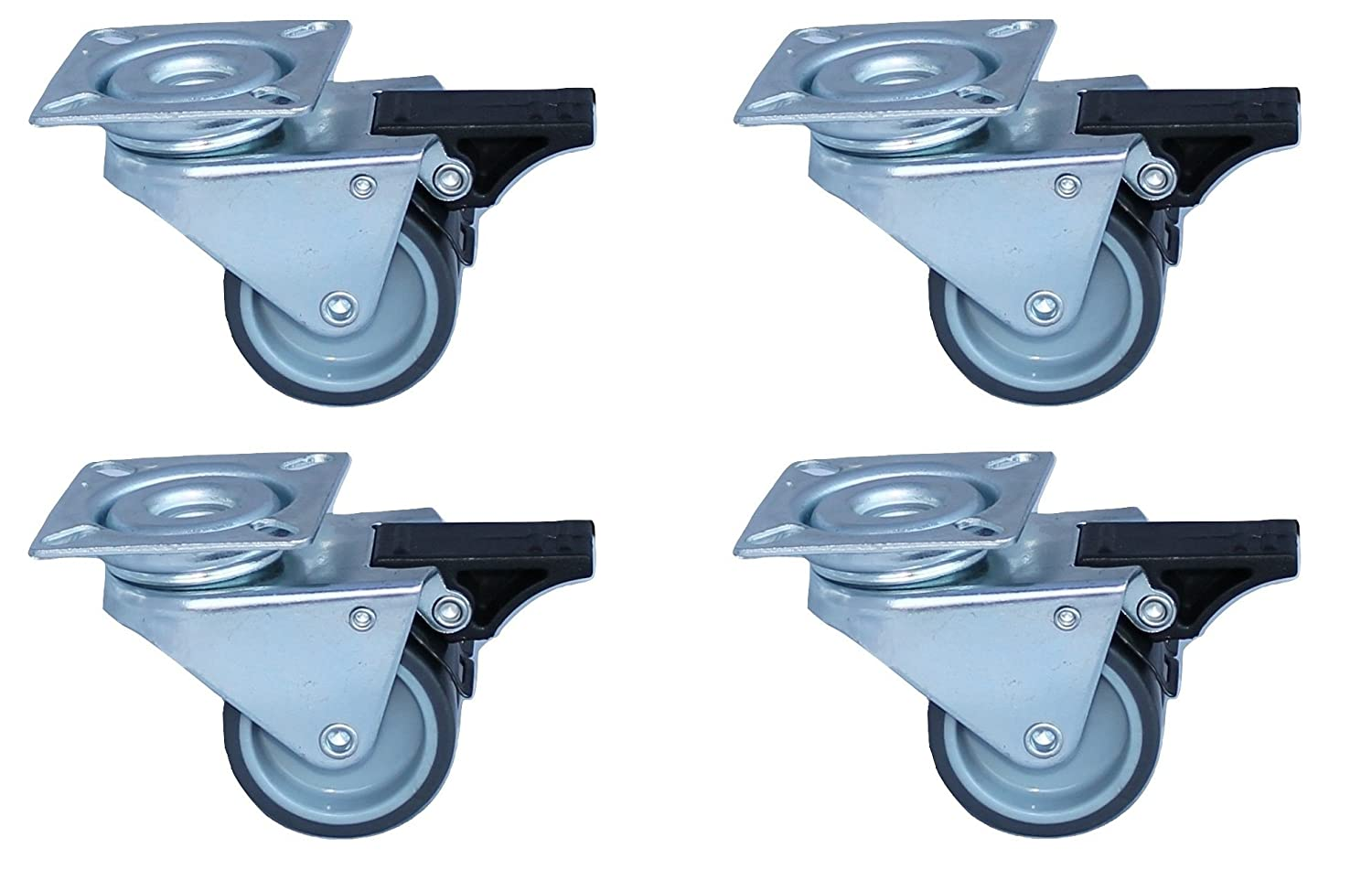 Pack of 4 heavy duty wheels with brake, 300kg capacity, Caster wheels, wheel diameter 50mm Artecsis