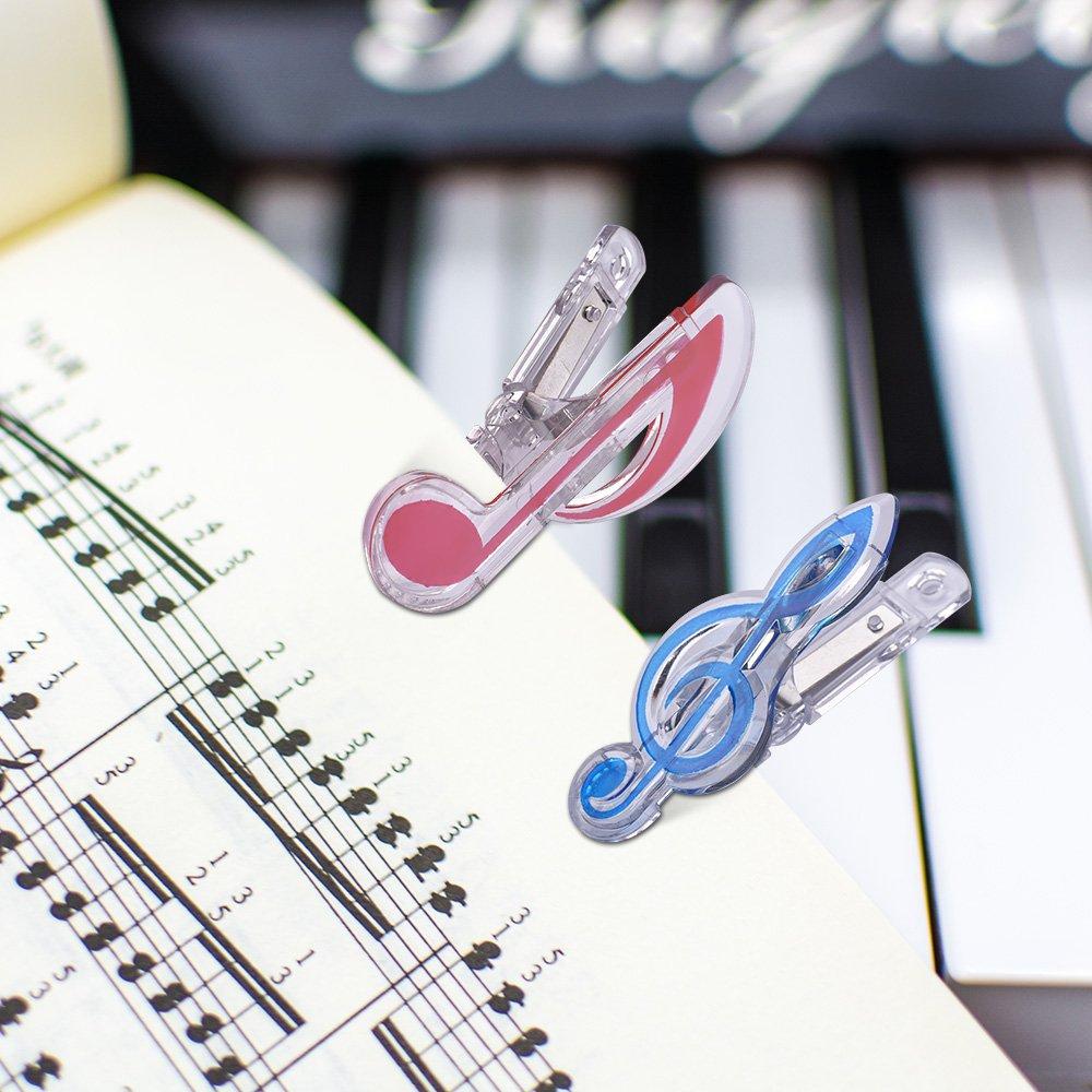 Muslady Clip Piano Clip de page de livre Huiti/ème clip de notes Marque-pages Accessoires Pack 5