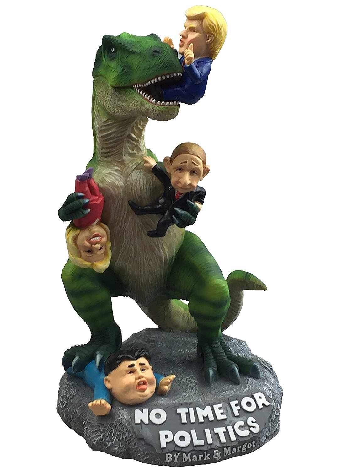 By Mark & Margot Garden Statue Donald Trump President Funny Décor - T-rex Dinosaur Enjoying Delicious Hillary Kim & Putin – Great Novelty Gag Gift –Best Indoor Outdoor Home Office Lawn or Patio