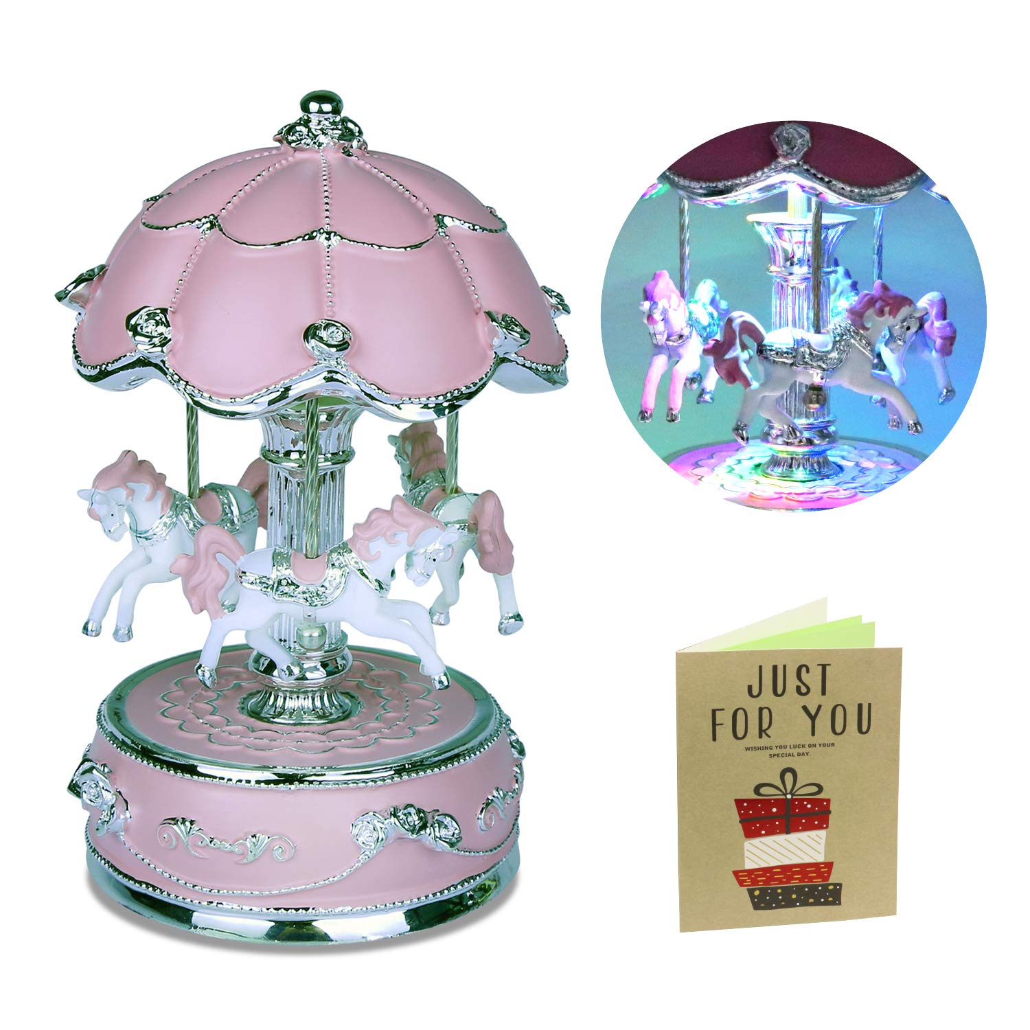 iGutech Carousel Music Box, Luxury Carousel Horse Music Boxes for Kids Girls (Pink)