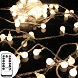 50 Leds 16 Feet Globe LED String Lights with Remote Control Timer Battery Operated Indoor Outdoor Decorative Fairy Lights Curtain for Patio,Gardens,Bedroom,Wedding,Christmas Party (Warm White)