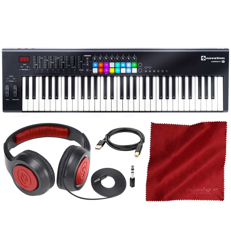 Novation Launchkey MK2 61-Key USB Keyboard Controller for Ableton Live with Headphones & Basic Bundle by Novation - Photo Savings