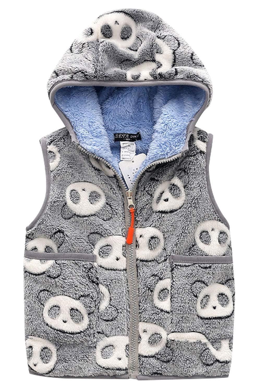 Happy Cherry Girls Polar Fleece Vest Reversible Cartoon Zipper Hooded Waistcoat