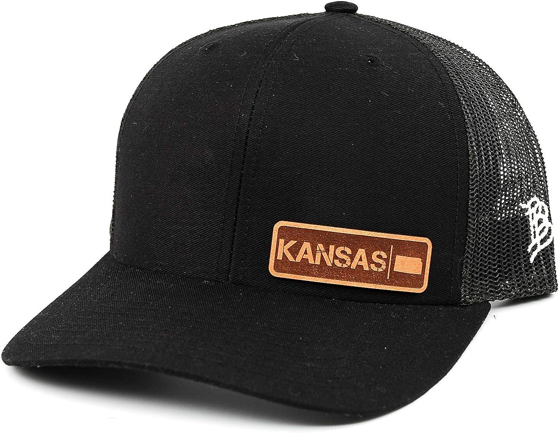 Branded Bills /'Kansas Native Leather Patch Hat Curved Trucker OSFA//Black